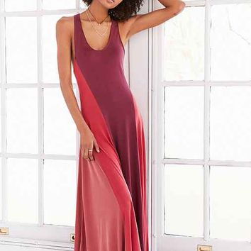 Silence + Noise Colorblock Cupro Maxi Dress