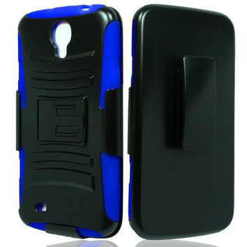 Samsung Galaxy Mega 6.3 Case, Rugged Hybrid Triple Layer Holster Shell Combo Case [Kickstand and Clip] for Galaxy Mega 6.3 - Blue