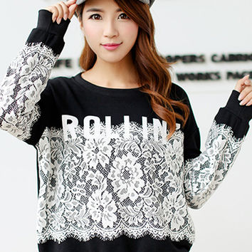 Cuff Sleeve Lace Embroidery Sweater