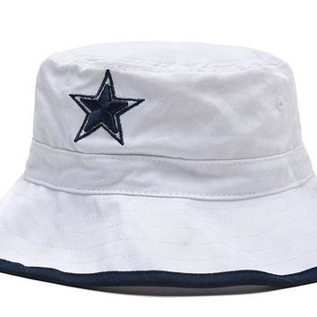 PEAPON Dallas Cowboys Full Leather Bucket Hats White