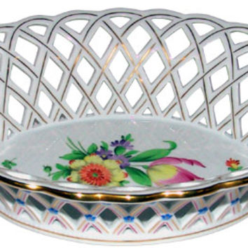 Herend Printemps Oval Openwork Basket 7400BT