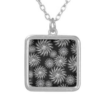 Spinning stars energetic pattern black silver plated necklace