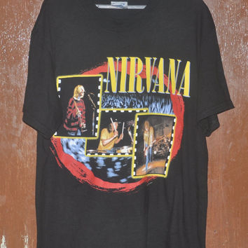 Rare Vintage 90's NIRVANA Grunge Alternative Sub Pop Kurt Cobain T-Shirt