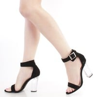 Black Single Sole Clear Chunky High Heels Faux Leather