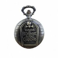 "Youyoupifa Popular ""TIM BURTON'S"" With Small Bat And Skull Pocket Watch NBW0PO6280-SS3"