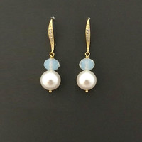 Beautiful, Pearl, Drop, Opal, Crystal, Gold, Silver, Earrings, White, Pearl, Cubic, Ear, Hooks, Birthday, Wedding, Gift, Jewelry