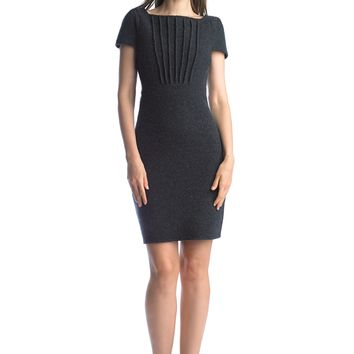 Historic New York Fanfold Plissé Cap Sleeve Extra-fine Merino Wool Dress