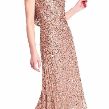 Adrianna Papell - AP1E201757 Cowl Draped Back Sequin Ornate Gown