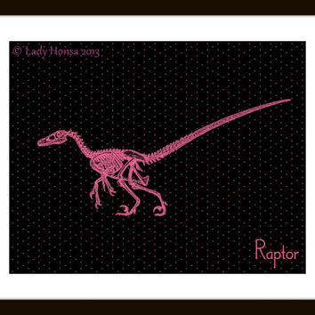 Black and Pink geometrical pattern, Velociraptor dinosaur print, nerd art poster, science art poster, dinosaur poster skeleton digital print