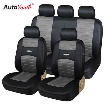 AUTOYOUTH New Technolog 3D Air Mesh Fabric Car Seat Covers Universal Fit Cars SUV Vehicles Airbag Compatible 11pcs Seat Cover