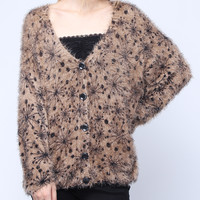 Khak Dandelion Pattern Soft Knit Sweater Cardigan * free shipping *