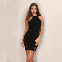 Cold Shoulder Bandage Side Lace Up Sexy Body-Con Dress (Brown / Black)