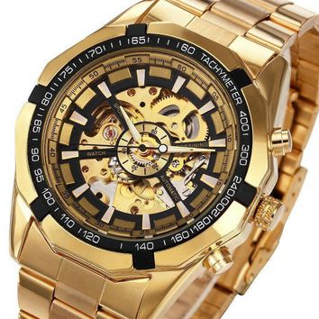 Skeleton Automatic Mechanical  Gold Watch
