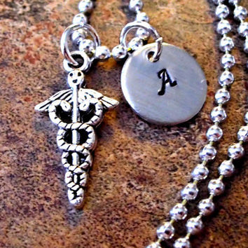 Personalized Jewelry, Medical Necklace, Caduceus Charm Jewelry, Hand Stamped Jewelry