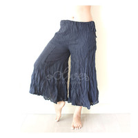 Wide Leg Cotton Pants with Drawstring Waist in Dark Blue