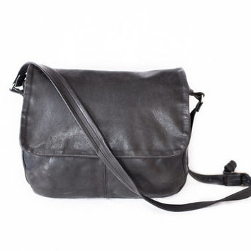 black leather 80's grunge slouchy satchel bag