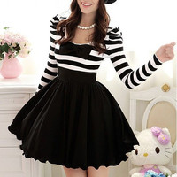 2012 New Women's Winter Black And White Striped Bubble by livapo
