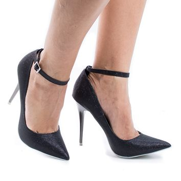 Audrey Black Shimmering By Shoe Republic, Classic Stiletto High Heel Ankle Strap Pointy Toe Pumps