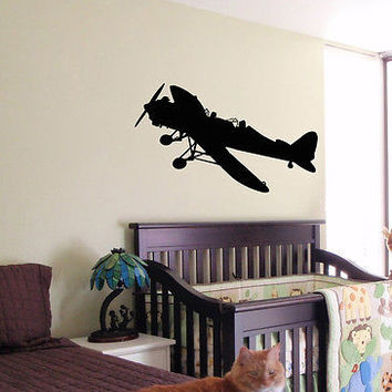 KIDS WALL ART STICKER BABY ROOM NURSERY BOY GIRL BEDROOM FUNNY AIRPLANE JET 14