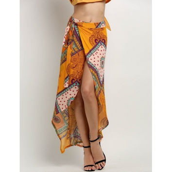 Bohemia Style Women Print Wrap Side Slit Asymmetrical Hem Beach Long Maxi Skirt