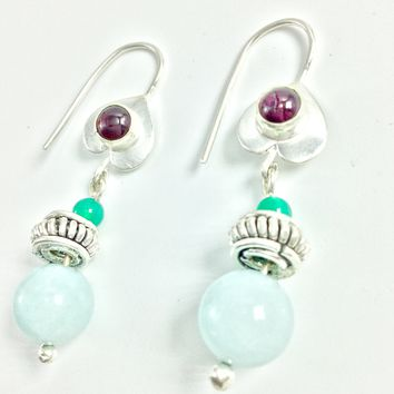 Aventurine, Green onyx and Amethyst Silver Earrings