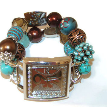 Brown and Turquoise Chunky Beaded Watch, Brown and Turquoise Bracelet Watch, Interchangeable Watch, Stretchy Womans Watch, BeadsnTime
