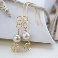Dangle earrings beige glass pearl nickel free by collscreations