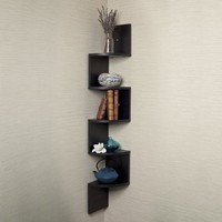 Large Corner Wall Mount Shelf-Black Laminate