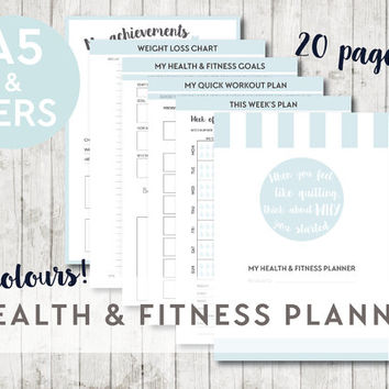 A5 & Personal HEALTH AND FITNESS Printable Planner Inserts - Filofax Kikki K - Weight loss, Weight tracker, Meal planner, Workout plan, Goal