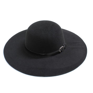 Wide Brim Felt Floppy Hat with Buckle