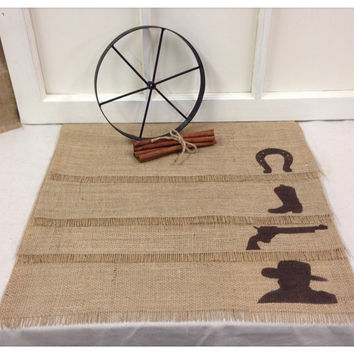 Burlap Placemat set of 4 or 6 or 8 with Boot, Gun, Cowboy & Horse Shoe