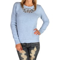 Sale-light Blue Textured Jeweled Sweater