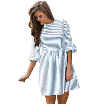 Blue White Stripe Flounce Sleeve Seersucker Dress