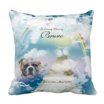 Rainbow Bridge Pet Dog Memorial Throw Pillow