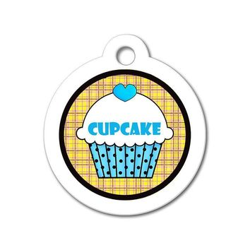 Blue Cupcake with Orange Pattern - Cute Pet Tag