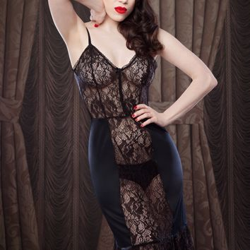 Gothic Black Lace Dress Slip, Black Lace and Satin Lingerie Slip/Petticoat, inspired by Marilyn Monroe, Pin-up Girl, Retro, Vintage Style.