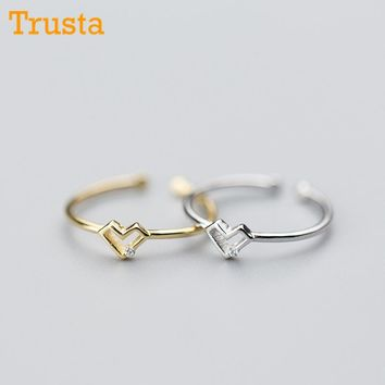Trusta 2018 100% 925 Sterling Silver Fashion Jewelry Hollow Heart Cocktail Ring Sizable 5 6 7 Girl Kid Women Xmas Gift DS591