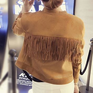 Chic Bomber Suede Fringed Jacket Slim O-Neck Faux Fur Coat Women Long-sleeved High Waist Single-breasted Pilot Splice Cardigan