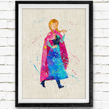 Frozen Anna Watercolor Art Print, Disney Art Print, Watercolor Poster, Home Decor, Not Framed, Buy 2 Get 1 Free!