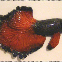 Black and Red Halfmoon Betta Fish Polymer Magnet