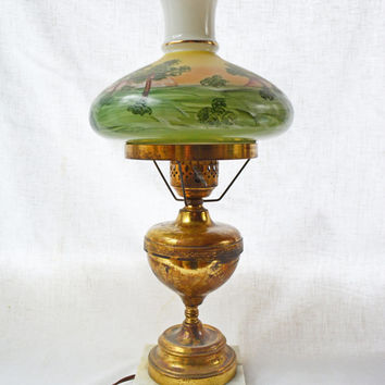 Vintage Hand Painted Lamp, Brass and Glass Light, Hand Painted Countryside Scene,  Brass Desk or Table Lamp