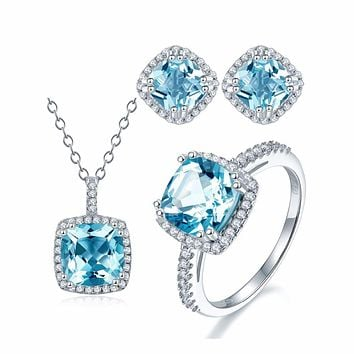 Hutang Genuine Blue Topaz Halo Jewelry Sets S925 Sterling Silver Pendant Ring Earrings Gemstone Fine Wedding Jewelry for Women