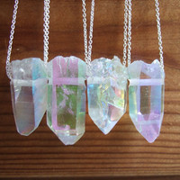 Sterling Silver Opal Aura Quartz Point Necklace