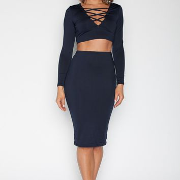 Two Piece Crop Top Set - Navy Blue