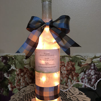 Sympathy quote wine bottle lamp, Sympathy gift, Condolence gift