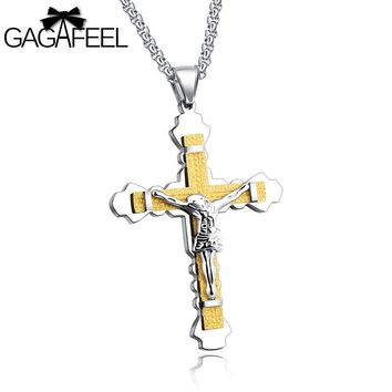 Gagafeel Engraved Cross Jesus Necklace Jewelry For Man Woman Stainless Steel Choker Men Chain Crucifix Christian Pendant Gift