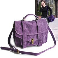 Purple Suede Foldover Messenger Bag