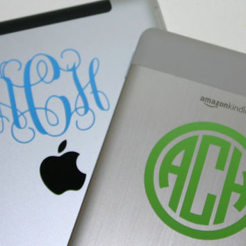 "Decal 3"" Monogram for iPad or Kindle"