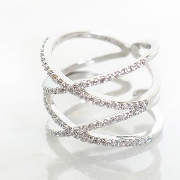 Double Crossed Ring Silver