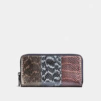 Accordion Zip Wallet in Striped Mixed Snake